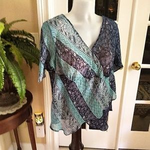 Flowing Sheer Blouse by Requirements Like New 1X